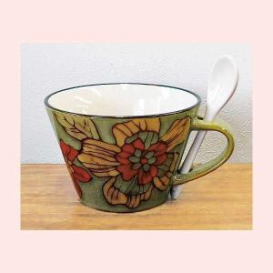 ストーンウェア製スープマグカップ/グリーン|sshana