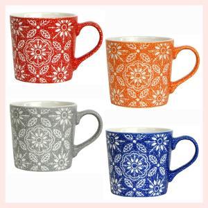 ストーンウェア製フラワーミニマグカップ(カラー)4Pセット/4種類|sshana