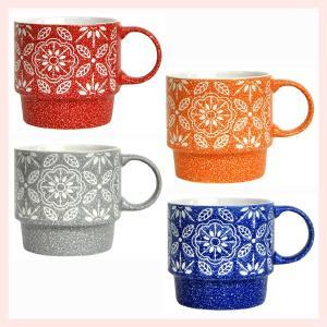 ストーンウェア製フラワースタックマグカップ(カラー)2Pセット/4種類|sshana