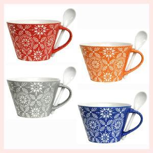 ストーンウェア製フラワースープマグカップ(カラー)スプーン付/4種類|sshana