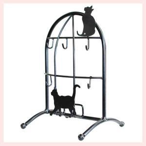 黒猫シリーズ 猫のスタンドキーフック/ブラック sshana
