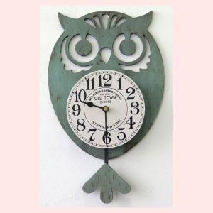 フクロウの振り子時計/グリーン|sshana