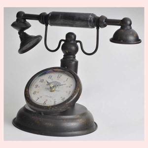 アンティーク調な電話デザインの置時計/ラウンド|sshana