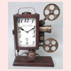 レトロ調な映写機デザインの置時計|sshana