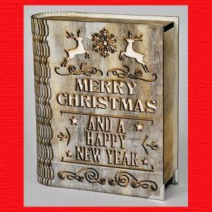 『クリスマス』ウッドブック型インテリアライト|sshana