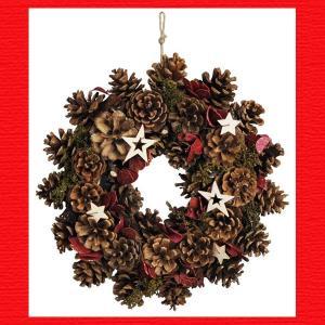 『クリスマス』ナチュラルデコレーションリース(28cm)/スターS|sshana