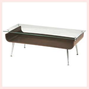 ガラステーブル(96×45×34cm)/ブラウン sshana