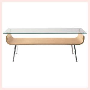 ガラステーブル(96×45×34cm)/ナチュラル sshana