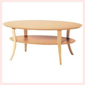 ウッドオーバルテーブル(収納台付き)/ナチュラル sshana
