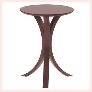 ウッドラウンドサイドテーブル/ブラウン sshana