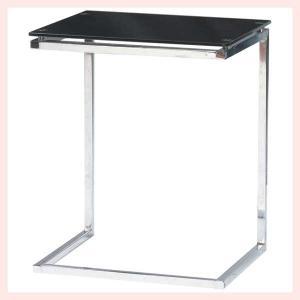 ガラス&スチールサイドテーブル/ブラック|sshana