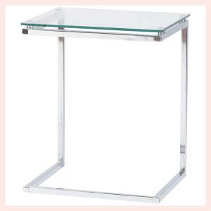 ガラス&スチールサイドテーブル/クリア|sshana