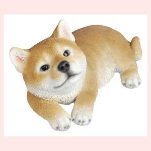 レジン製のリアルなアニマルオブジェ(柴犬)/リラックス sshana