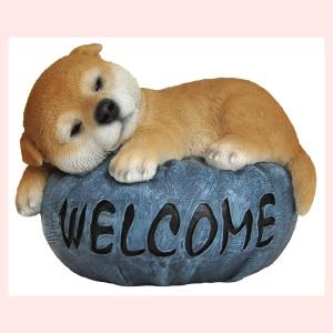 レジン製のリアルドッグオブジェ/柴犬(ウェルカムデニムクッション)|sshana