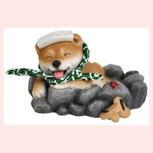 レジン製のリアルドッグオブジェ/柴犬(柴助・温泉)|sshana