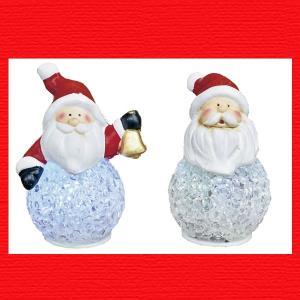 『クリスマス』陶器製LEDボールライト(サンタ)アソート2Pセット|sshana