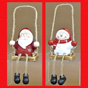 『クリスマス』陶器製LED足ぶらドールライト(ブランコ)/2種類|sshana