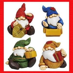 『クリスマス』レジン製の置物/プレゼントサンタS(アソート4Pセット)|sshana
