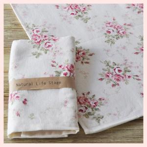 綿100%の薔薇柄ガーゼフェイスタオル(3Pセット)/フルーア|sshana