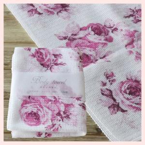 綿100%の薔薇柄ボディタオル(3Pセット)/ルーシーピンク|sshana