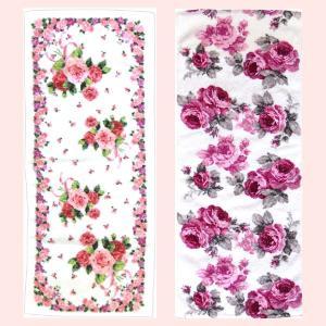 綿100%の薔薇柄フェイスタオル(両面パイル)/2種類|sshana