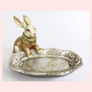 アンティーク調なレジン製ウサギのミニトレー|sshana