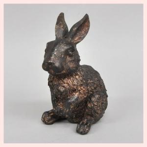 レジン製ブロンズ風加工のウサギのオブジェ(L)/立ち|sshana