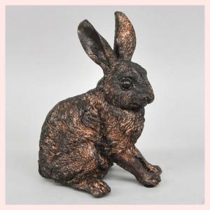 レジン製ブロンズ風加工のウサギのオブジェ(L)/座り|sshana