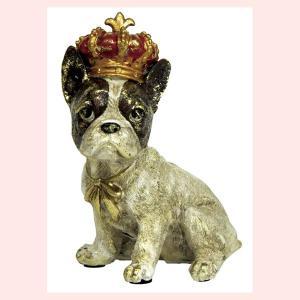 レジン製アンティーク調な犬の置物ミニ(クラウン)/フレンチブル|sshana