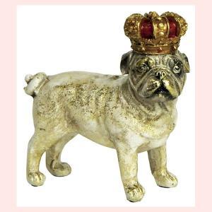 レジン製アンティーク調な犬の置物ミニ(クラウン)/パグ・立ち|sshana