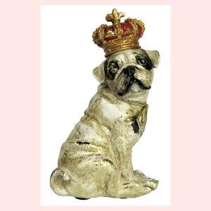 レジン製アンティーク調な犬の置物ミニ(クラウン)/パグ・座り|sshana