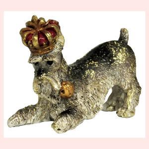 レジン製アンティーク調な犬の置物ミニ(クラウン)/シュナウザー|sshana