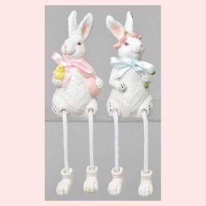 レジン製ウサギの置物(ホワイト)2Pセット/足ぶらドール|sshana