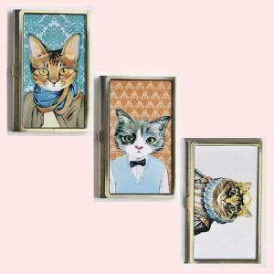 アンティーク調な絵柄のカードケース(キャット)/3種類|sshana