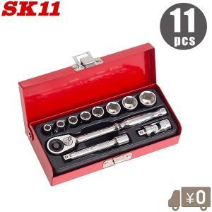 SK11 ソケットレンチセット 1/4 工具セット ツールセット TS-211M 11PCS ラチェ...