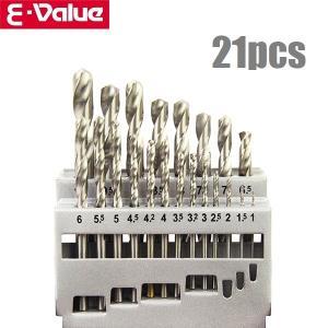 E-Value 鉄工用ドリルセット ETD-21S 21pcs 電動 充電 ドライバー ドリルドライ...
