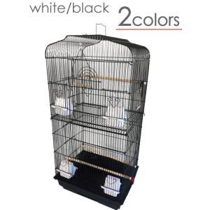 大型 鳥かご 白/黒 バードゲージ 鳥小屋 [鳥カゴ ケージ セキセイインコ オカメインコ エサ入れ インテリア アイアン アンティーク]|ssnet
