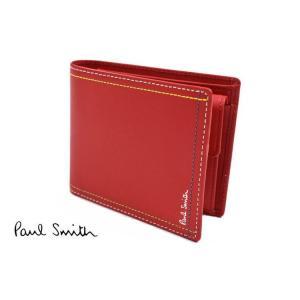 22eced25fa48 ポールスミス 財布 二つ折り メンズ ブランド Paul Smith ダブルステッチレザー 専用箱付 赤