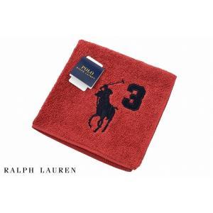 ポロ ラルフローレン タオルハンカチ ハンカチ メンズ ブランド 1枚 Ralph Lauren 赤 レッド ナンバー ロゴ 男性 紳士の画像