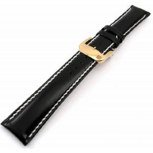 即納可 バンビ レザーベルト【BAMBI 】さとり ハンドステッチ HC002A0-P 硯(ブラック) 18mm ゴールドバックル 時計用ベルト|ssshokai