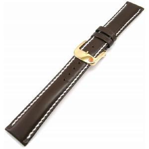 即納可 バンビ レザーベルト【BAMBI 】さとり ハンドステッチ HC002B0-R 豊土(ダークブラウン) 19mm ゴールドバックル 時計用ベルト|ssshokai
