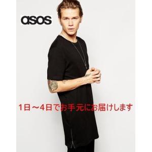 asos エイソス ロング丈 サイドジップ ブラック 黒  半袖 Tシャツ[衣類]|ssshop