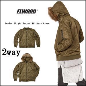 新作 ELWOOD フード付き フライトジャケット MA-1 カーキ 取り外し可能なフードファー MA-1 ジャケット 長袖 アウター エルウッド[衣類]|ssshop