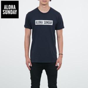 アロハサンデー Tシャツ ALOHA SUNDAY BUMPER WHITE PRINT ネイビー 2016新作 バンパープリント サーフ Tシャツ [衣類]|ssshop