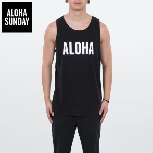 アロハサンデー タンクトップ ALOHA SUNDAY ALOHA ブラック 黒  新作 ALOHA サーフ タンク [衣類]|ssshop
