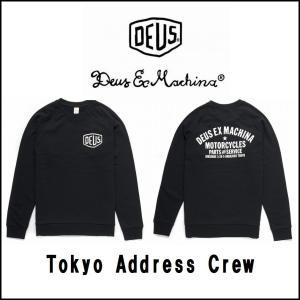 DeusExMachina デウスエクスマキナTokyo Address Crew ブラック 黒 スウェット クルーネック 長袖 トレーナー  サーフ バイカー Deus Ex Machina[衣|ssshop