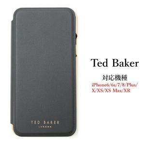 Ted Baker テッドベイカー ミラー付 手帳型 iPhone 5/5s SE 6/6s 7 8 11 Pro Plus X/XS XR XSMax Case アイフォン ケース 携帯 スマホ ケース 二つ折 無地 ブラ ssshop