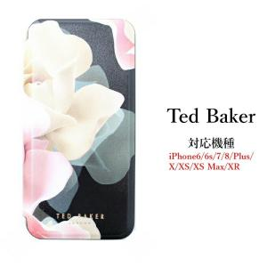 9af5c8f5368f3 Ted Baker テッドベイカー ミラー付 手帳型 iPhone5 5s iPhoneSE Case アイフォン ケース 携帯 スマホ ケース  ブラック 二つ折 花柄 ポーセレンロー