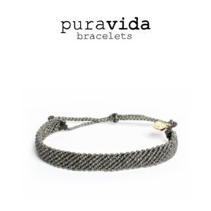 puravida bracelets プラヴィダ ブレスレット FLAT BRAIDED DARK GREY フラット編みダークグレー ブレスレット pura vida メンズ レディース ユニセッ|ssshop