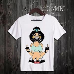 NO COMMENT PARIS ノーコメントパリ 半袖 Tシャツ ホワイト ラウンドネック Vネック メンズ レディース 大きい 小さい  ジャスミン グラフ jasmine gr|ssshop